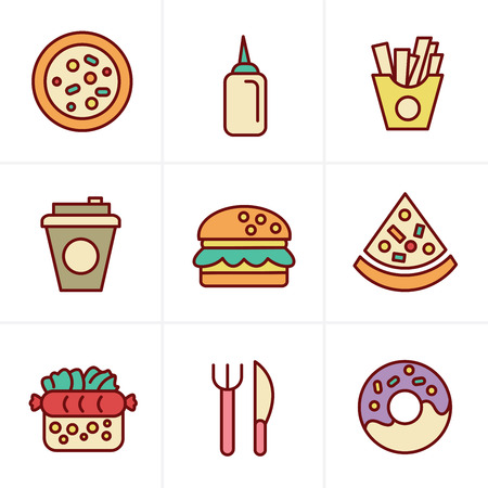 chinese takeout box: Icons Style Fast Food Icons