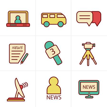 news reporter: Icons Style News reporter icons set.