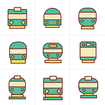 the hovercraft: Icons Style Set of transport icons - Train and Tram, vector illustration