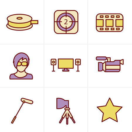 pg: Icons Style vector black movie icon set on gray Illustration