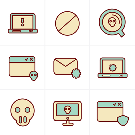 malicious software: Icons Style  Digital criminal icons set
