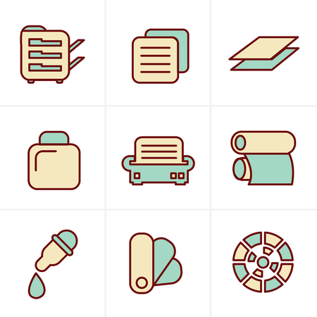 package printing: Icons Style Icons Style  Print icons set elegant series