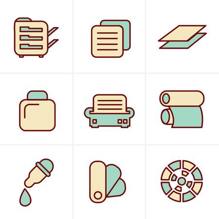 desktop printer: Icons Style Icons Style  Print icons set elegant series