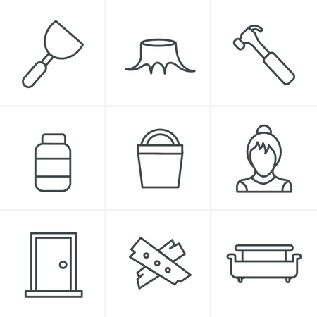 claw hammer: Line Icons Style  Icons set carpentry