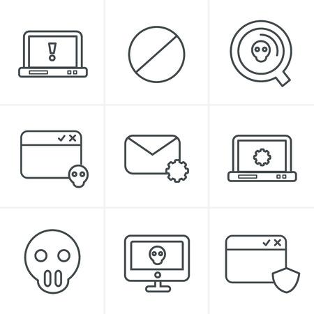 malicious software: Line Icons Style  Digital criminal icons set