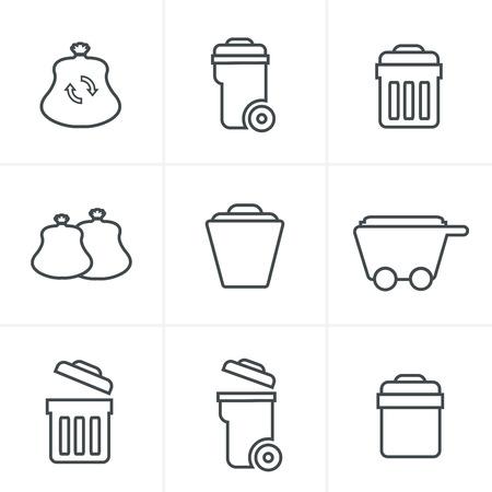 trashing: Line Icons Style  Garbage Icons