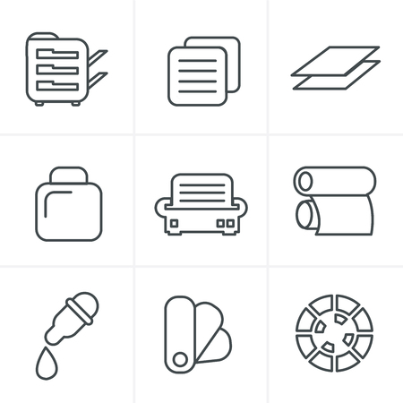copy center: Line Icons Style  Print icons set elegant series Illustration