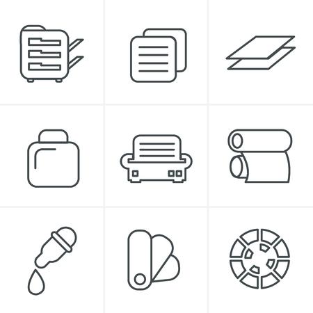 package printing: Line Icons Style  Print icons set elegant series Illustration