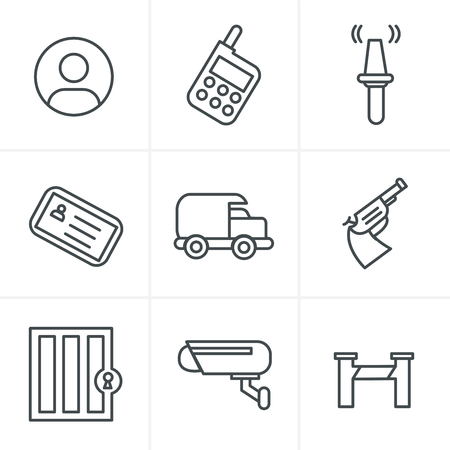 armored safes: Line Icons Style  Security Icons Illustration