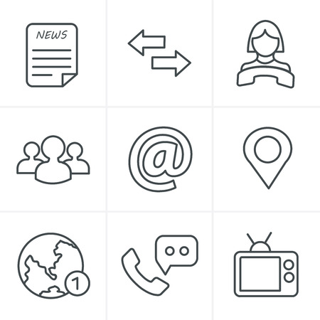 contacts group: Line Icons Style Media and communication icons