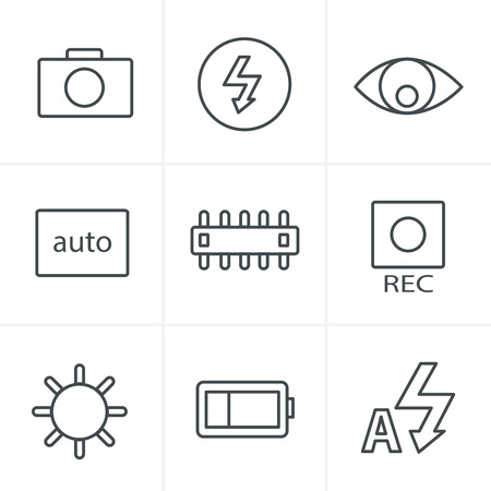 evaluative: Line Icons Style Photography icons