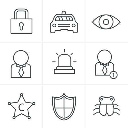 retina scan: Line Icons Style Security icon set on white background