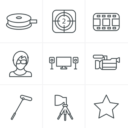 Line Icons Style vector black movie icon set on gray Illustration