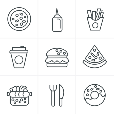 chinese takeout box: Line Icons Style Fast Food Icons Illustration
