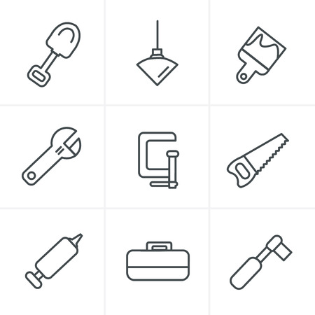 silicone gun: Line Icons Style Basic - Tools and Construction icons