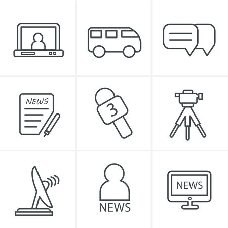 news reporter: Line Icons Style News reporter icons set.