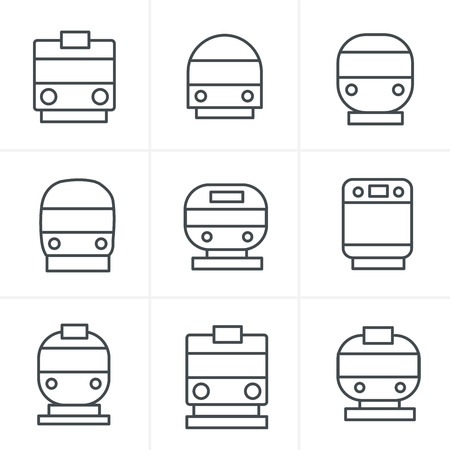 the hovercraft: Line Icons Style Set of transport icons - Train and Tram, vector illustration Illustration
