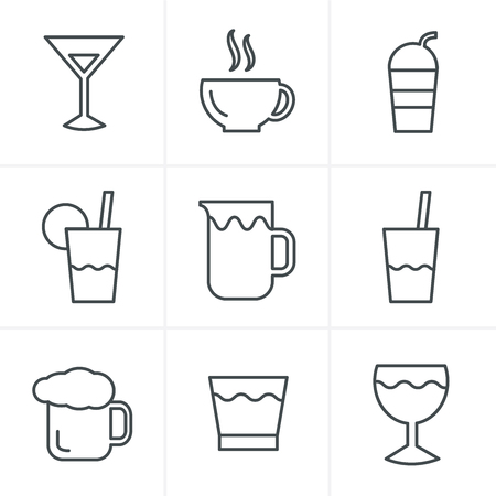 whie wine: Line Icons Style  Drink  Icons Set, Vector Design