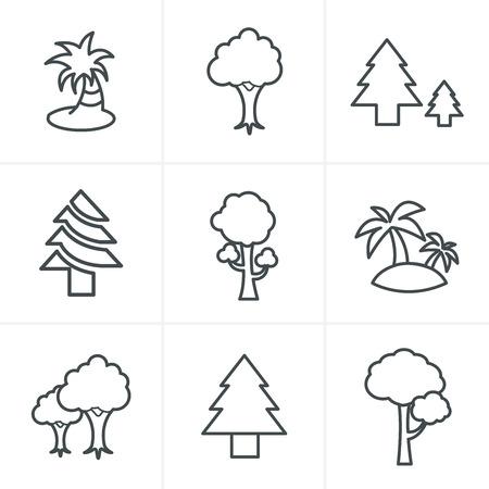 tree line: Line Icons Style Tree Icons Set, Vector Design