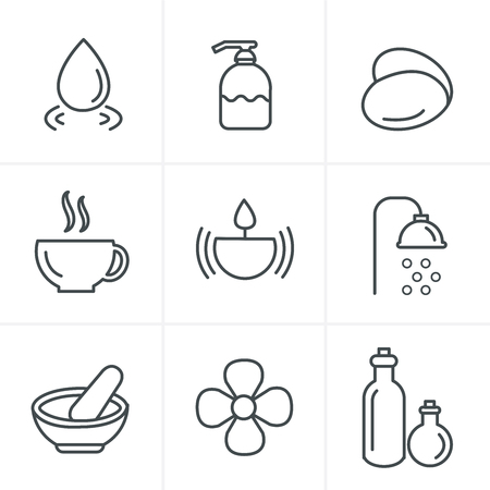 papering: Line Icons Style  Spa Icons Set, Vector Design