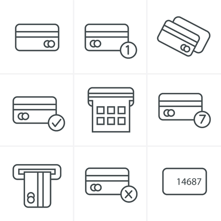 credit cart: Line Icons Style Vector black credit cart icons set