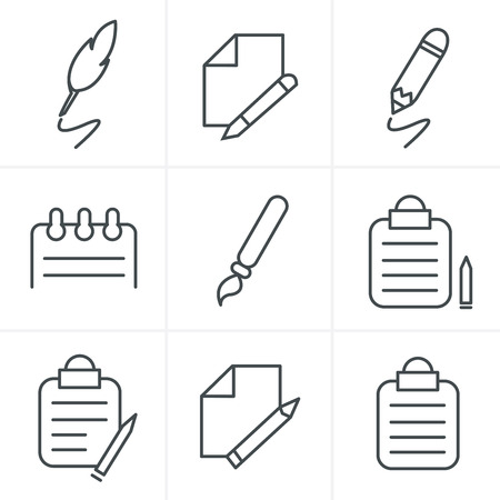 article writing: Line Icons Style Writing icons