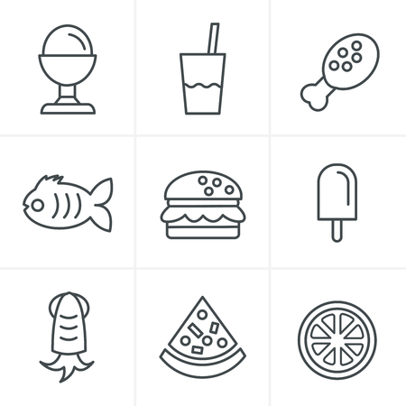 frozen fish: Line Icons Style Food Icons Set, Vector Design