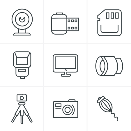 digicam: Line Icons Style Photography Icons Set, Vector Design