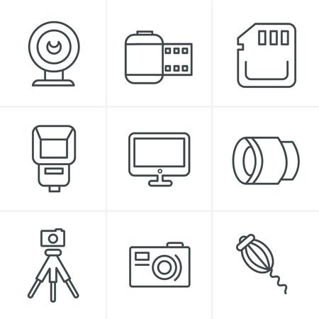 polarizing: Line Icons Style Photography Icons Set, Vector Design