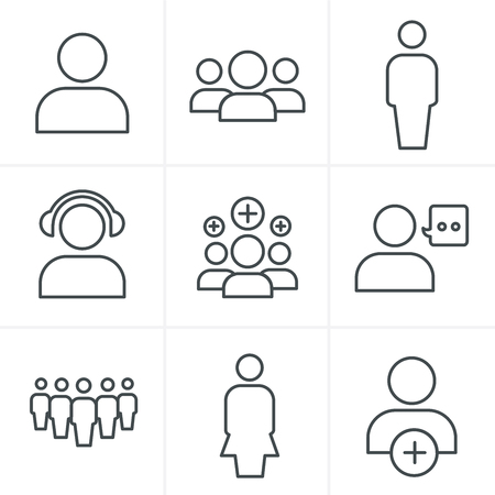 Line Icons Style team icon set, Vector Design