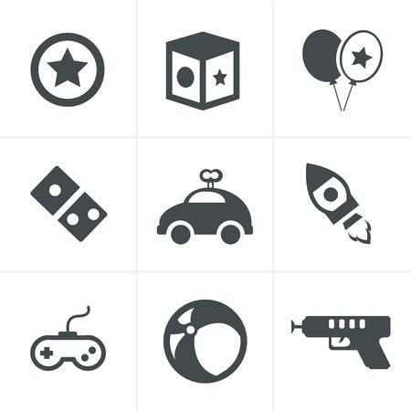 toy icons, mono vector symbols
