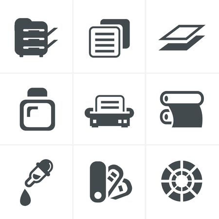 desktop printer: Print icons set elegant series