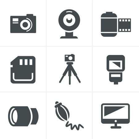 photography icons: Photography Icons Set, Vector Design Illustration
