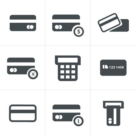 credit cart: Vector black credit cart icons set Illustration