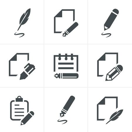 article writing: Writing icons Illustration