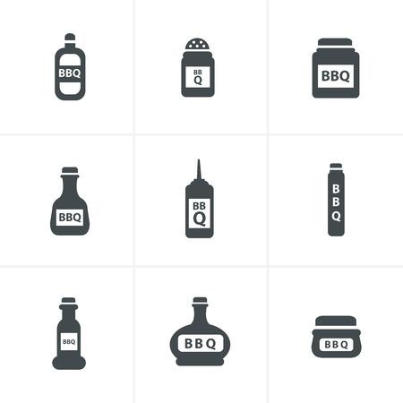 chili sauce: barbecue Hot chilli, chili sauce bottle buttons set Illustration