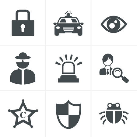 retina scan: Security icon set on white background