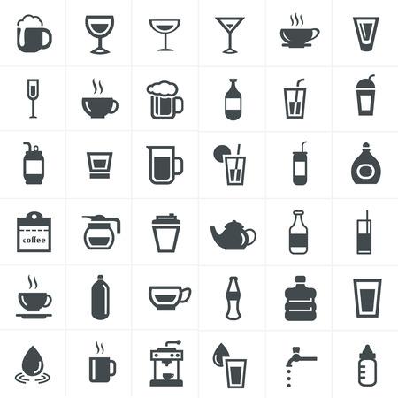 alimentos y bebidas: Beba iconos conjunto.
