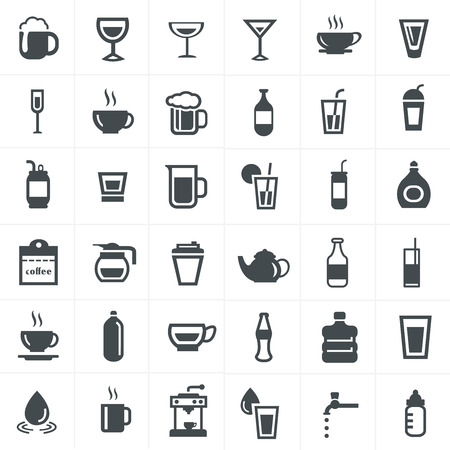 fruit drink: Drink icons set. Illustration