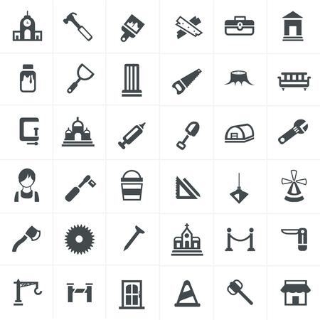 hormig�n: iconos carpintero establecen. Vectores