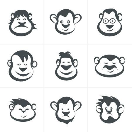 jumping monkeys: Monkey head icon vector