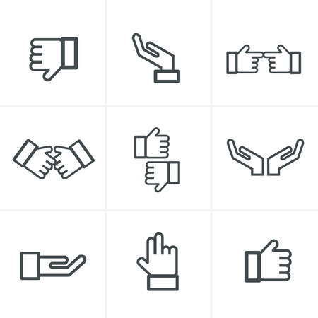 Hand gesture black icons vector Çizim