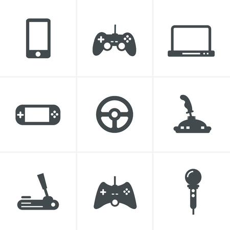 handheld device: Game icons: vector set of gadget signs