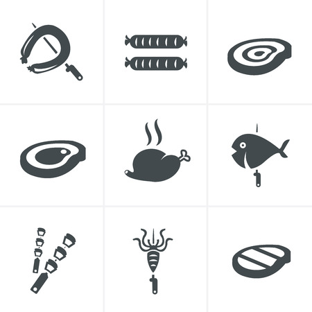 chargrill: Grill and barbecue related vector icons set