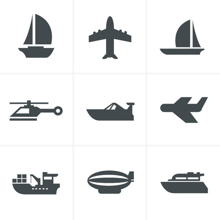 brigantine: vector black transport icons
