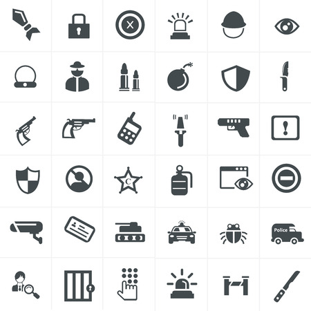 laser radiation: security and weapon icons set Illustration