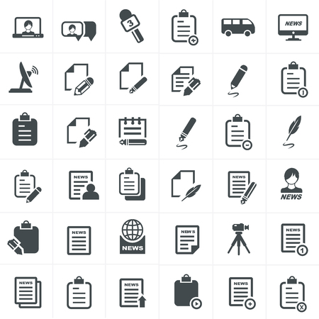 write and news icon set.