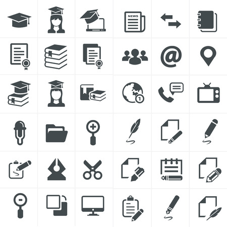 vector black education icons set on gray Ilustrace