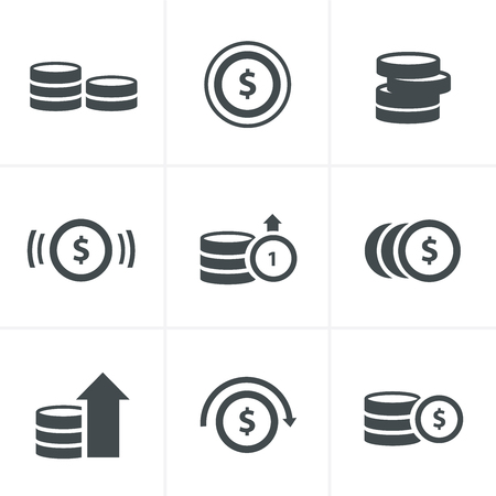 Coins Icons Set, Vector Design Ilustrace
