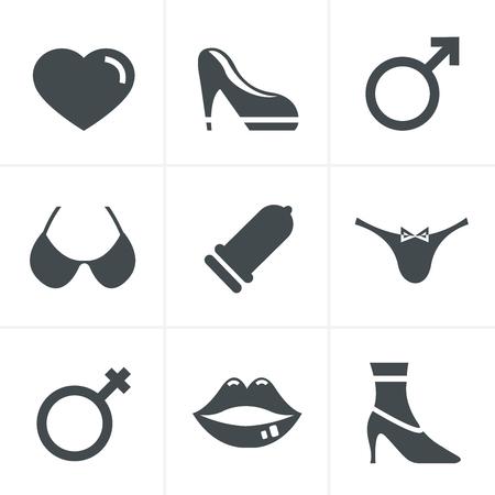 educacion sexual: Sexo y XXX set de iconos, dise�o del vector Vectores